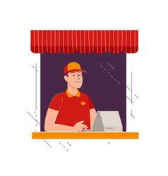 happy seller at checkout in store business shop vector image
