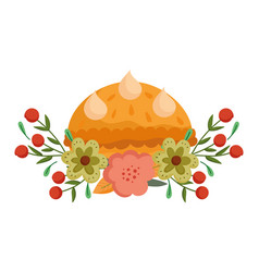 happy thanksgiving day pumpkin cake flowers vector image
