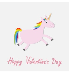 Happy Valentines Day Love card Cute unicorn vector image vector image