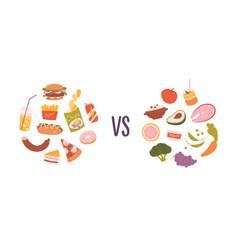 Healthy vs unhealthy food concept choice vector