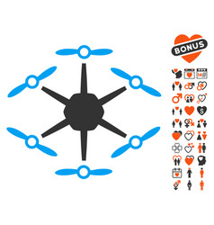 hexacopter icon with valentine bonus vector image