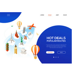 hot deals popular routes - colorful isometric web vector image