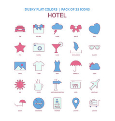 Hotel icon dusky flat color - vintage 25 icon pack vector