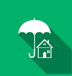 house with umbrella icon isolated with long shadow vector image