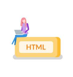html button woman programmer with laptop coding vector image