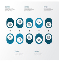Industry outline icons set collection of window vector