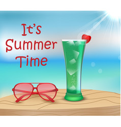 its summer time cocktail and sunglasses on wood vector image