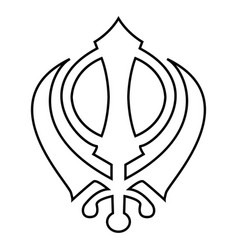 Khanda symbol sikhi sign icon black color flat vector