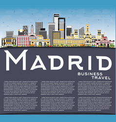 Madrid spain city skyline with gray buildings vector