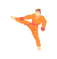 Man In Orange Kimono Taekwondo Martial Arts vector