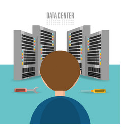 Man repair data center information vector