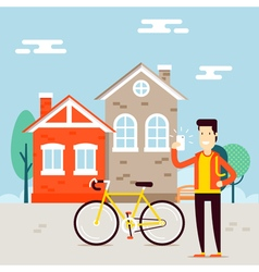 Man with bicycle city vector image