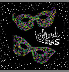mardi gras carnival mask on black background vector image