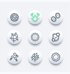 microbe virus and bacteria line icons vector image