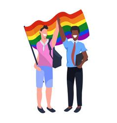 mix race couple gays holding lgbt rainbow flag vector image