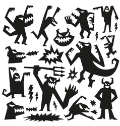monsters - doodles set vector image