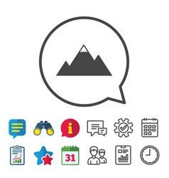 Mountain icon mountaineering sport sign vector