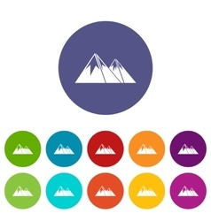 Mountains with snow set icons vector