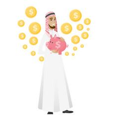 Muslim businessman holding a piggy bank vector
