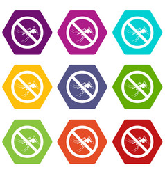 No mosquito sign icon set color hexahedron vector