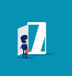 Open door business and smartphone technology vector