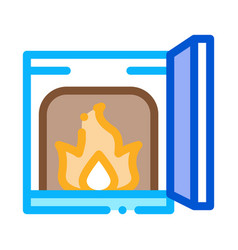 Open fire in stove icon outline vector