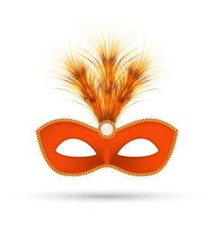 Orange carnival mask with fluffy feathers isolated vector