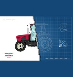 Outline blueprint tractor side view o vector