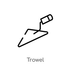 Outline trowel icon isolated black simple line vector