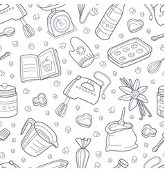 pattern from contours kitchen items vector image