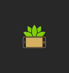 phone eco leaf logo vector image