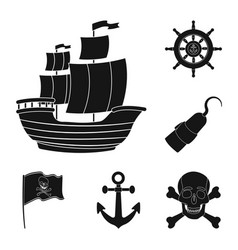 pirate sea robber black icons in set collection vector image