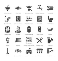 Plumbing service flat glyph icons house vector