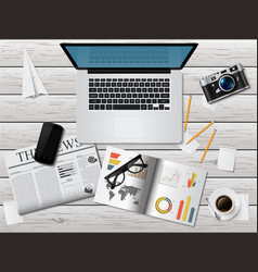 realistic workplace concept top view vector image