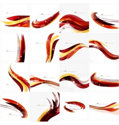 Red orange bright feather lines concept vector image