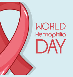 Red ribbon to world hemophilia day vector