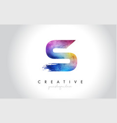 s paintbrush letter design with watercolor brush vector image