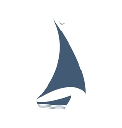 Sailing logo ship on the waves vector image