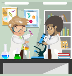 scientists in medical science laboratory vector image