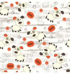 Seamless pattern with cute puppy vector