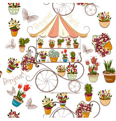Seamless pattern with flower shop or boutique vector