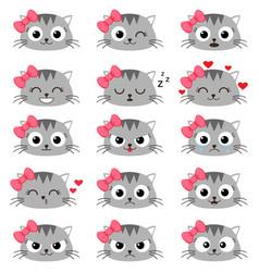 Set cute cartoon cat emotions vector