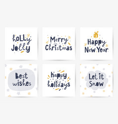 set lettering christmas greeting cards vector image