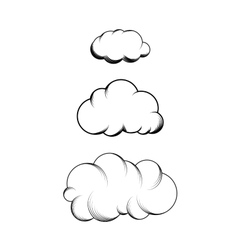 Set of hand drawn engraving clouds vector