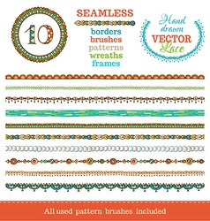 Set of seamless doodles geometric borders vector
