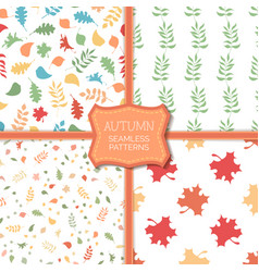 set of seamless pattern of autumn leaves vector image