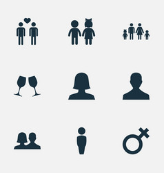 set of simple beloved icons vector image