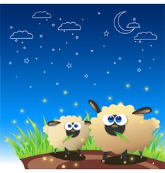 Sheep Once Upon Starry Night vector image