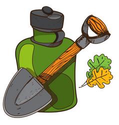 Shovel and glass jar objects traveler hunter vector