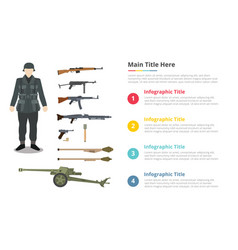 Soldier ww2 army uniform and military weapon vector